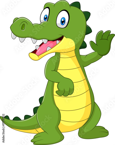 Fototapeta premium Cartoon funny crocodile waving hand isolated on white background