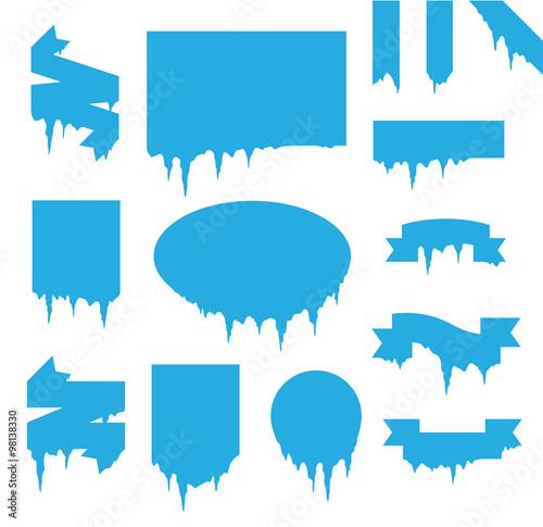 Obraz na płótnie Collection of frozen icicle snow winter vector banner