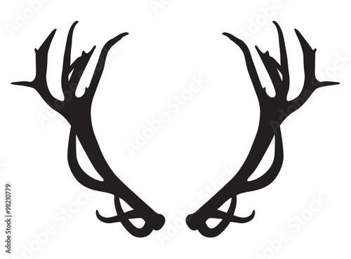 Tela black silhouette of deer antlers