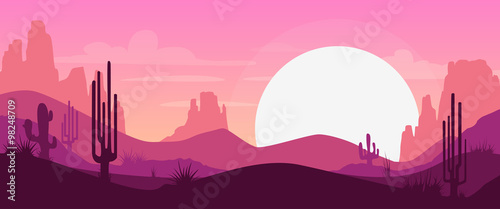 Fotografering Cartoon desert landscape
