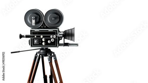 Vintage movie camera on tripod
