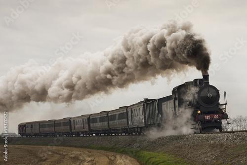Stampa su Tela vintage black steam train