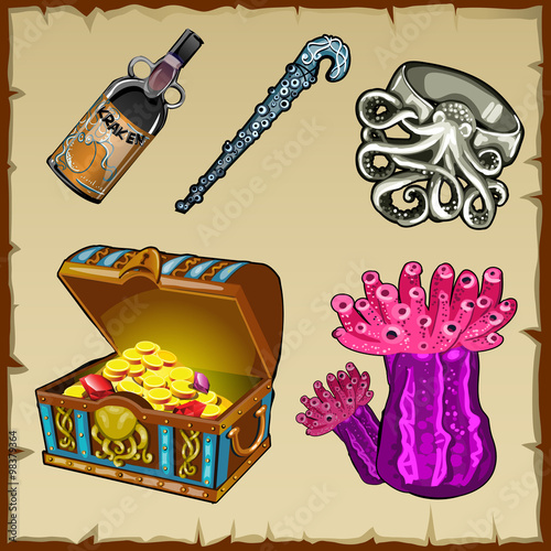 Photo Set of underwater world objects and chest of gold