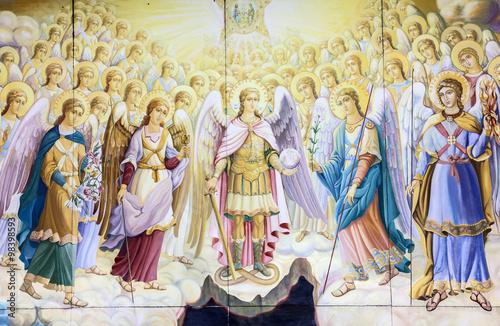 Foto Kiev, Ukraine. Archangels council. Fragment, historical picture