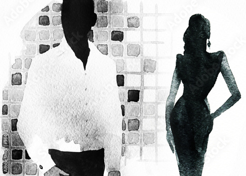 man and woman .abstract watercolor illustration