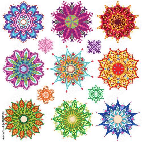 Fotografie, Obraz Set of Round Ornament Patterns