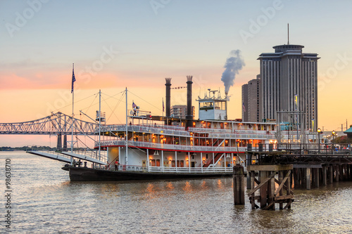 Wallpaper Mural New Orleans paddle steamer in Mississippi river in New Orleans