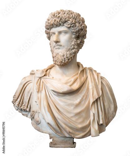 Fotografia Bust of the roman emperor Lucius Verus isolated on white