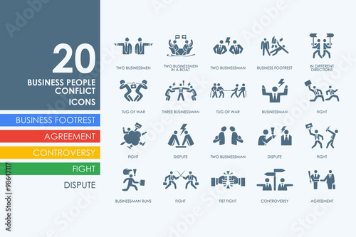 Fotografia Set of business people conflict icons