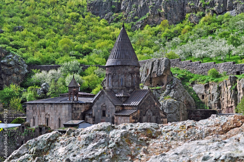 Armenian Geghard  Monastery on the slopes Fototapeta