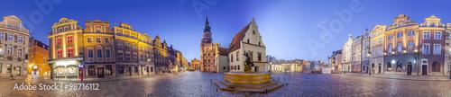 Night Skyline of Poznan Old Market Square in western Poland.