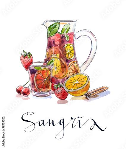 Obraz na plátně Refreshing sangria (punch)