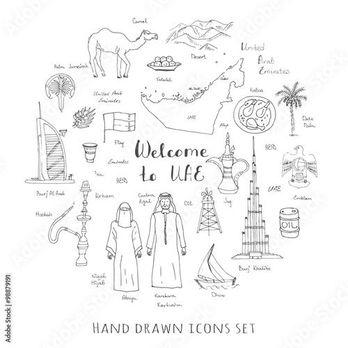 Hand drawn doodle UAE set Vector illustration Sketchy Emirati food icons United Fototapeta