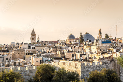Tela Skyline of the Old City at Christian Quarter of Jerusalem, Israe