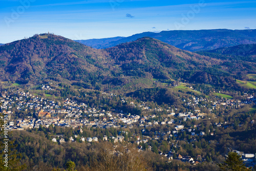 Canvas Print Overlooking the valley of Baden Baden with the Merkur mountain a