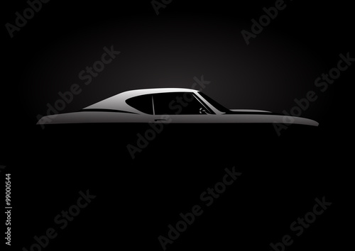 Vehicle Design Concept with classic American style muscle car silhouette on black background. Vector illustration.