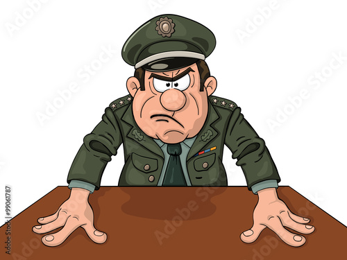 Photo Angry military general at the table