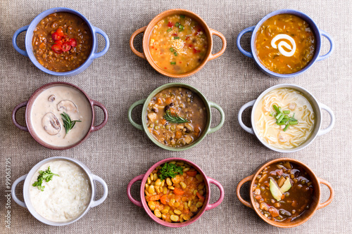 Canvas Print Assorted soups from worldwide cuisines