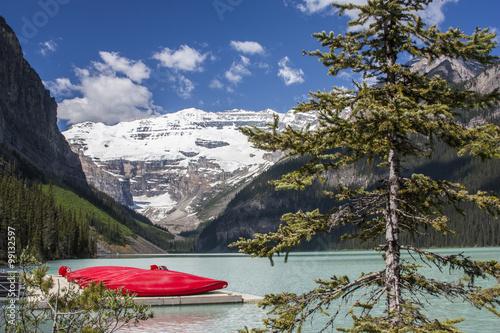 Canvas Print Lake Louise Kayaks