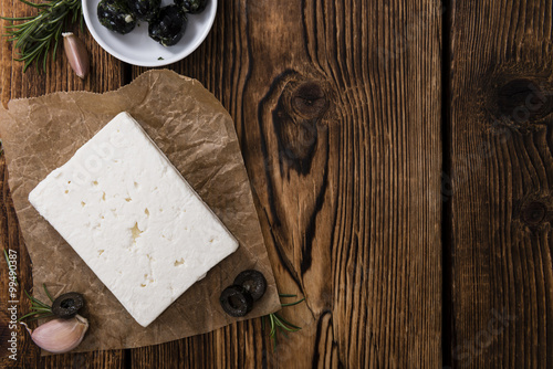 Portion of fresh cutted Feta Cheese