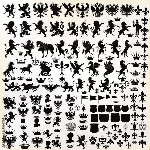 Carta da parati Vector set of vintage heraldic elements for design