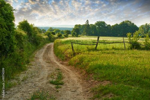 Photo polna droga wśród pól kierująca się ku dolinie