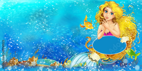 Cartoon ocean and the mermaid - illustration for the children