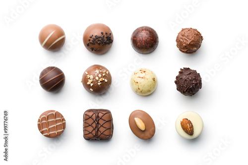 Photo various chocolate pralines