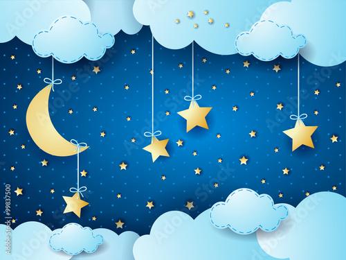 Surreal night, fantasy cloudscape
