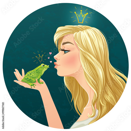 Vector illustration with beautiful lady kisses a frog