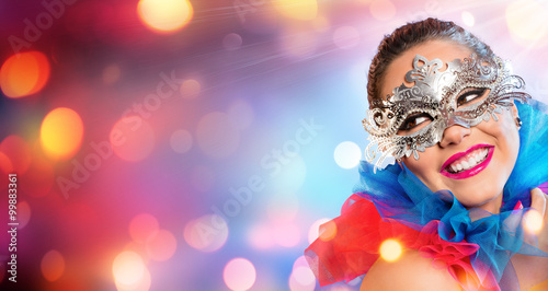 Fotografie, Obraz Attractive Woman Smiling With Carnival Mask