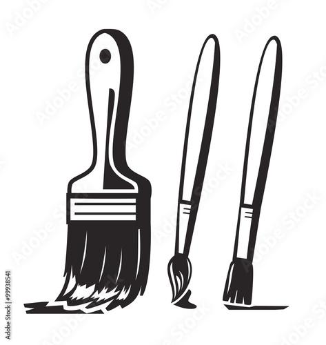 Obraz na płótnie vector black paint brush