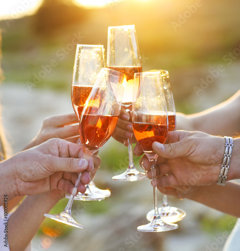 Group of friends toasting champagne sparkling wine Fototapeta