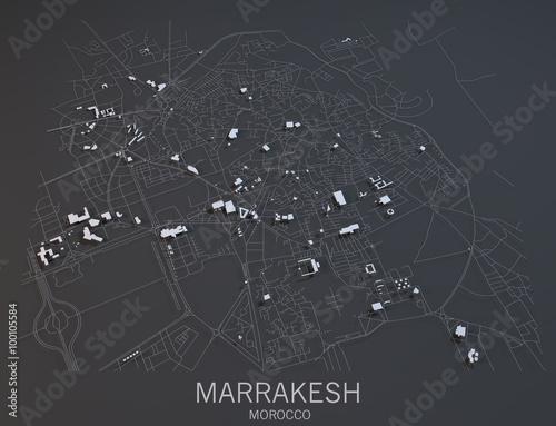 Fotografie, Obraz Cartina Marrakesh, vista satellitare, Marocco
