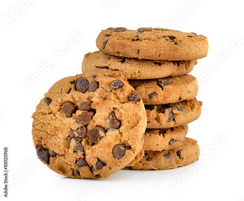 Fotografie, Obraz Chocolate chip cookie on white background