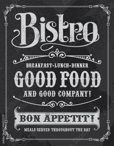 Bistro restaurant hand drawn calligraphic blackboard design Tapéta, Fotótapéta