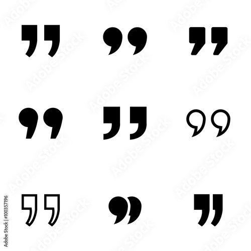 Fotografie, Obraz Vector black quote icon set