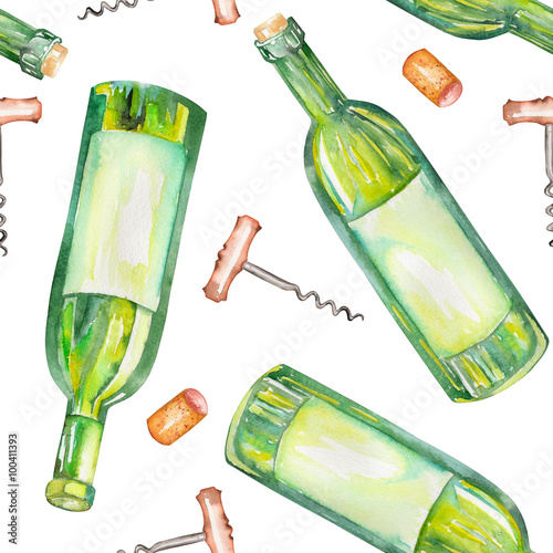 Fototapeta A seamless pattern with the wine watercolor hand-drawn elements: wine bottles, wine corks and a corkscrew