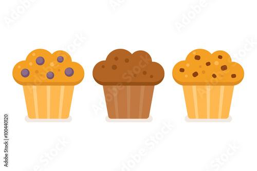 Muffin icon set Fototapeta