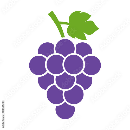Canvas-taulu Bunch of wine grapes with leaf flat color icon for food apps and websites