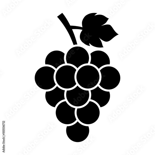 Canvas Print Bunch of grapes with leaf flat icon for food apps and websites