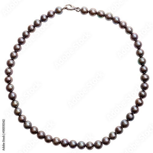 Obraz na płótnie round necklace from natural black pearls isolated