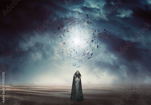 Mysterious woman in a magical and strange land Fototapet