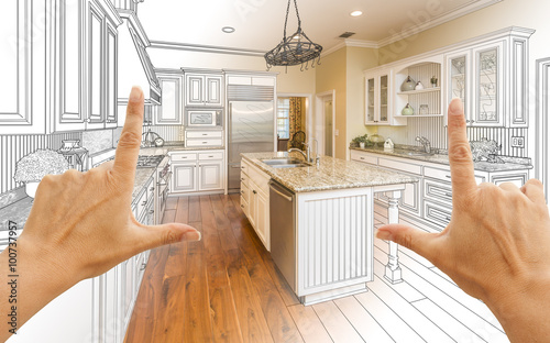 Leinwand Poster Hands Framing Gradated Custom Kitchen Design Drawing and Photo C