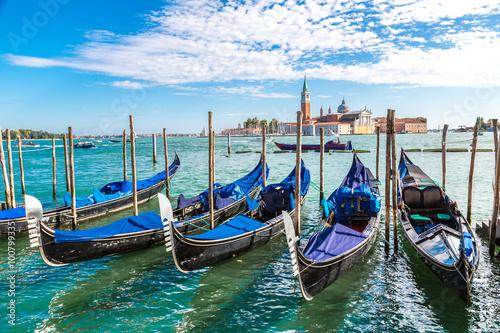 Canvas Print Gondolas  in Venice, Italy