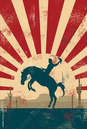Tela Grunge background, cowboy riding wild horse, vector