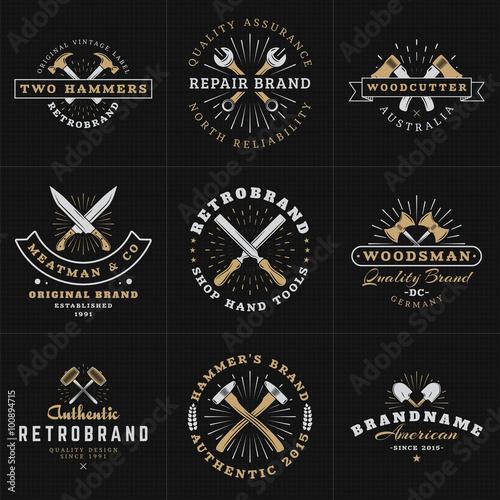 Wallpaper Mural Set of Hipster Vintage Labels, Logotypes, Badges for Your Business