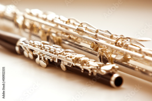 Canvas-taulu Two flute close up lying on a light background