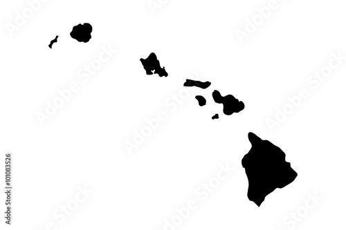 Fotografia, Obraz Hawaiian Islands black silhouette. Vector