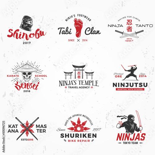 Wallpaper Mural Set of Japanese Ninjas Logo
